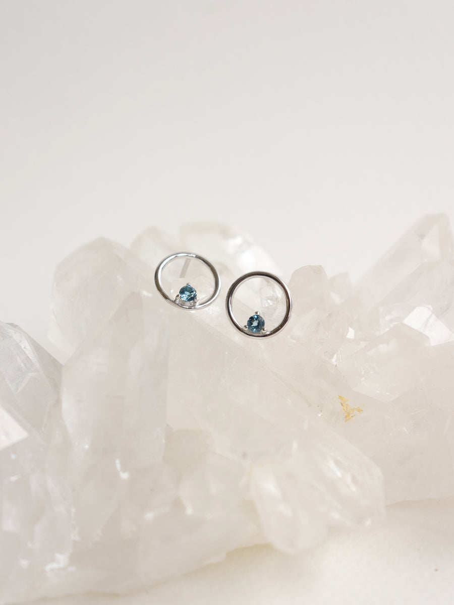Bri Ear Studs - London Blue Topaz (Silver)