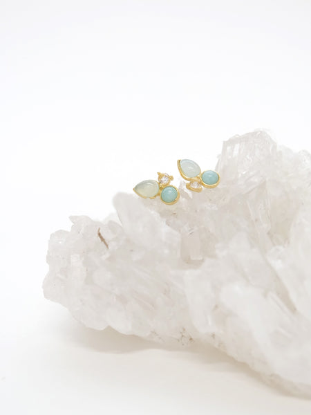 Callie Earstuds - White Topaz, Amazonite and Chalcedony in Gold