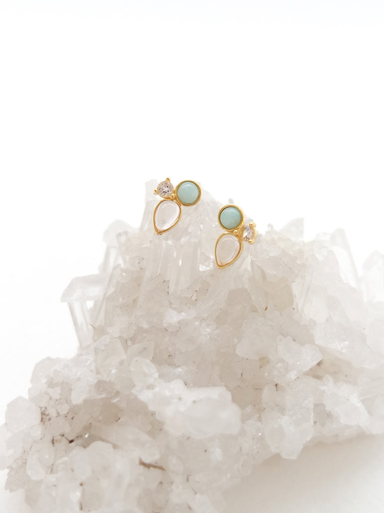 Callie Earstuds - White Topaz, Amazonite and Rose Quartz in Gold