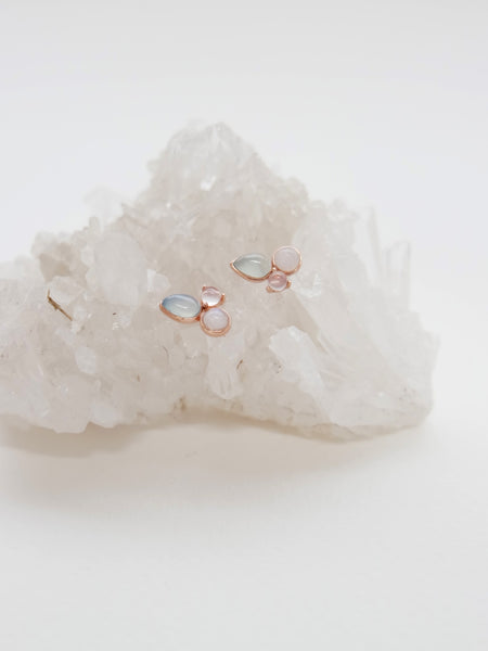 Callie Earstuds - Chalcedony and Moonstone in Rose Gold