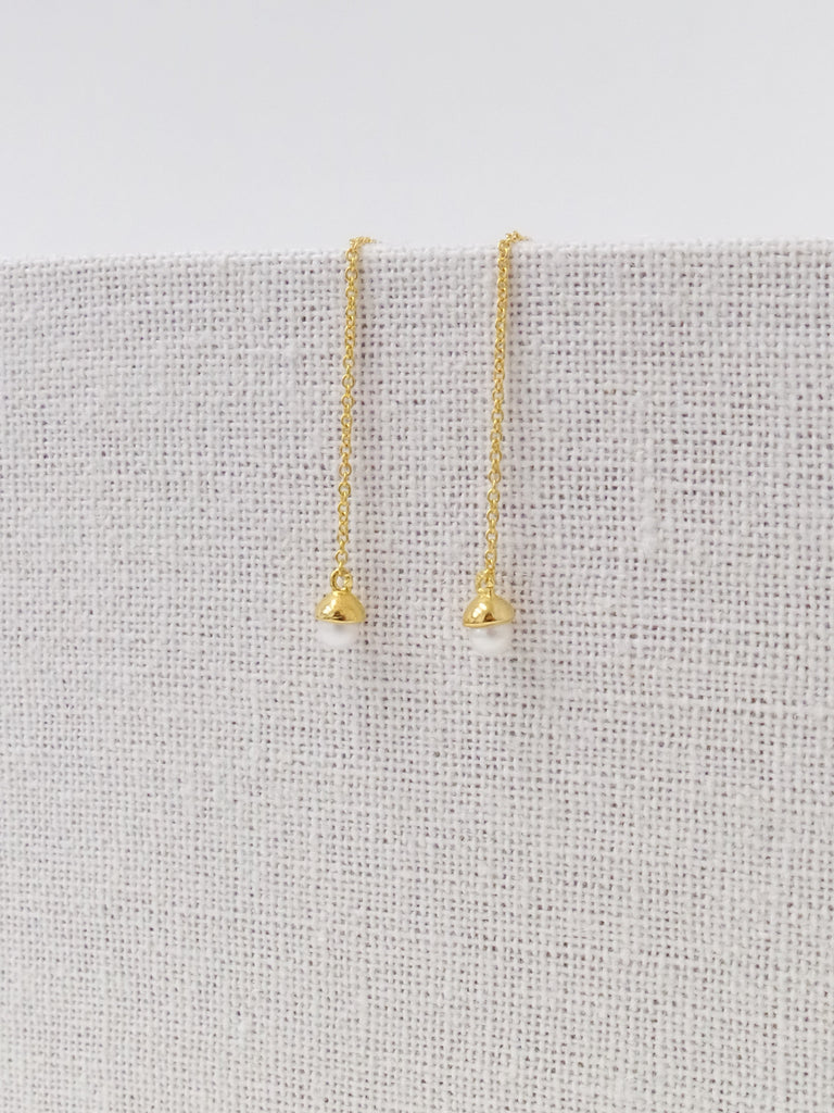 Diane Ear Threader - Freshwater Pearl in Gold