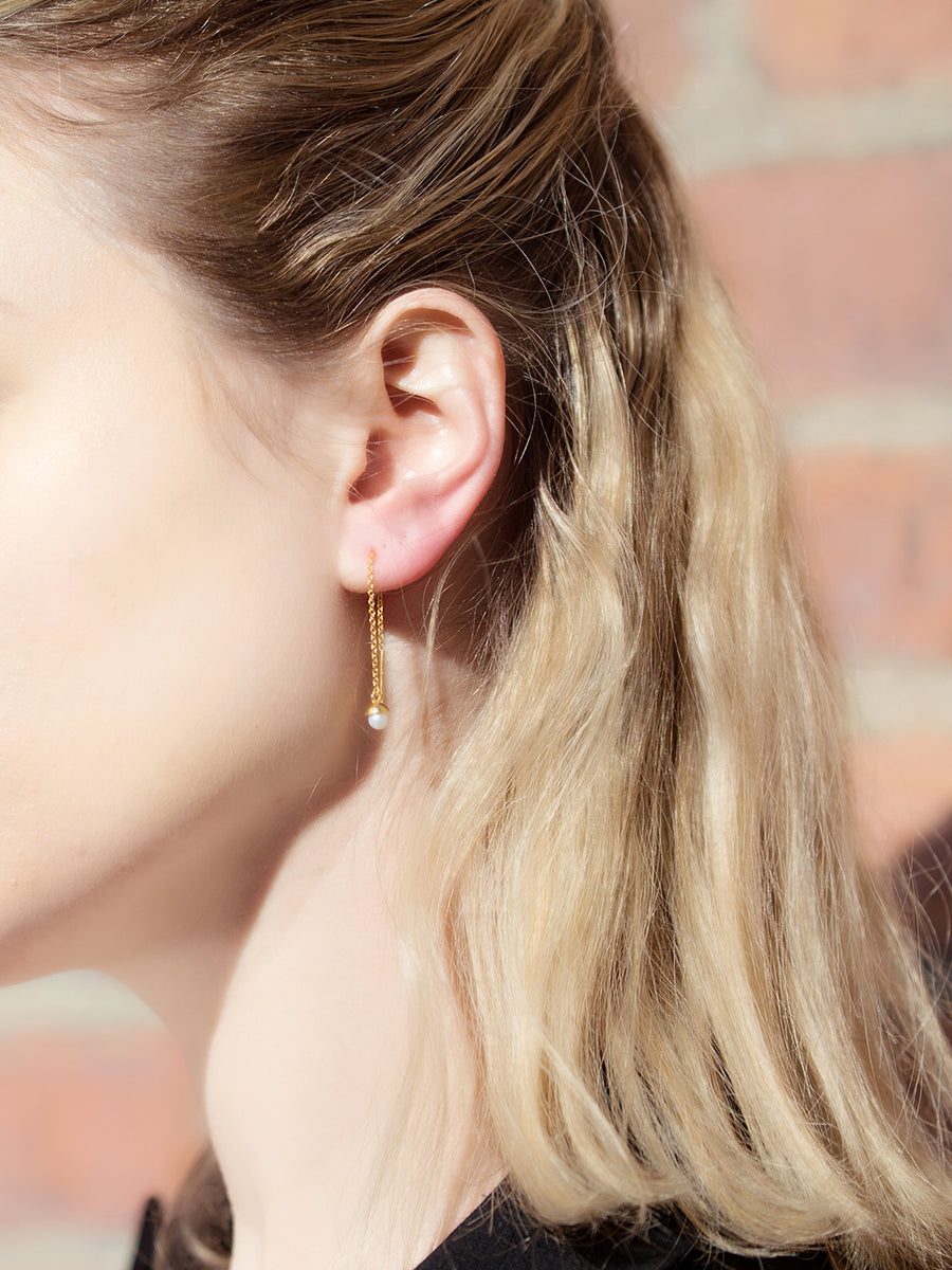 Diane Ear Threader - Freshwater Pearls (Rose Gold)
