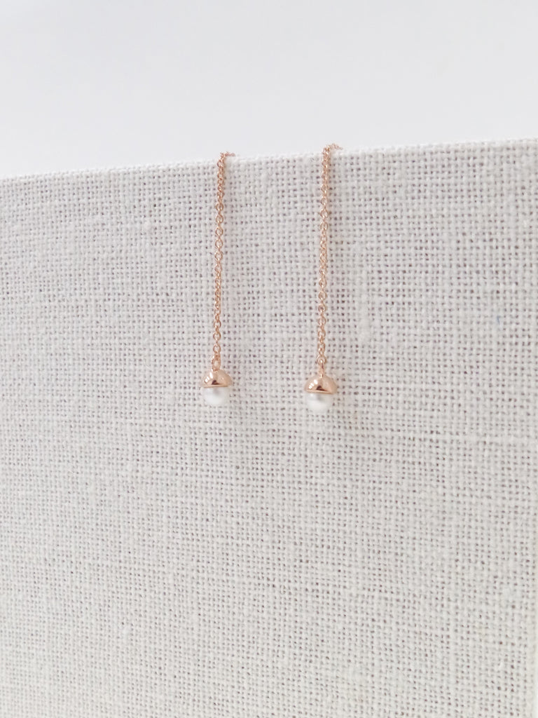 Diane Ear Threader - Freshwater Pearls in Rose Gold