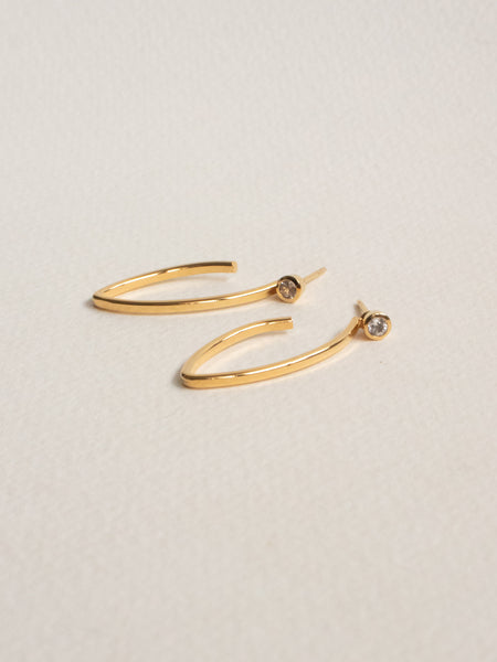 Edit Convertible Hoops with White Topaz in Gold