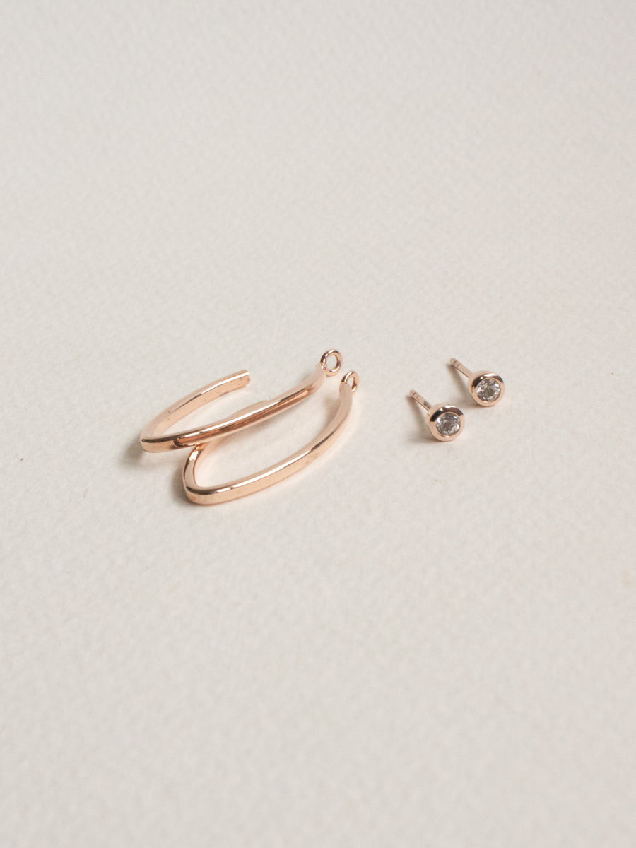 Edit Convertible Hoops - White Topaz (Rose Gold)