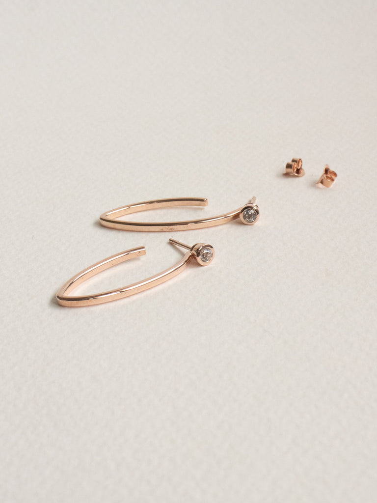 Edit Convertible Hoops with White Topaz in Rose Gold