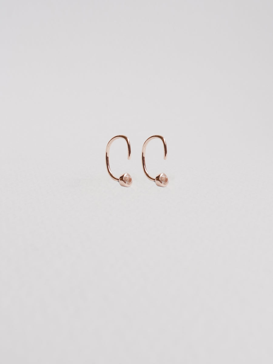 Faye - Inverted Ear Huggers with White Topaz in Rose Gold