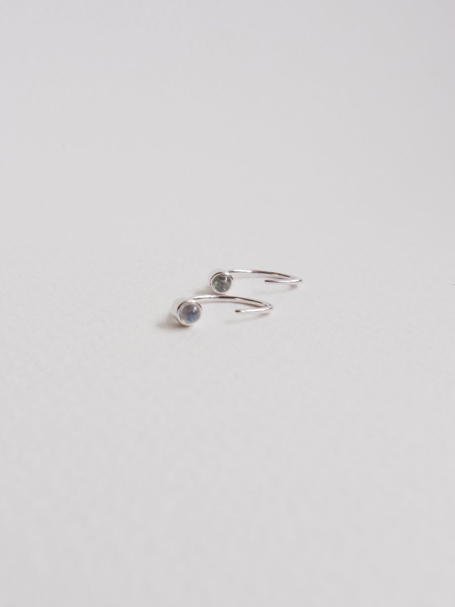 Faye - Inverted Ear Huggers with Labradorite in Silver