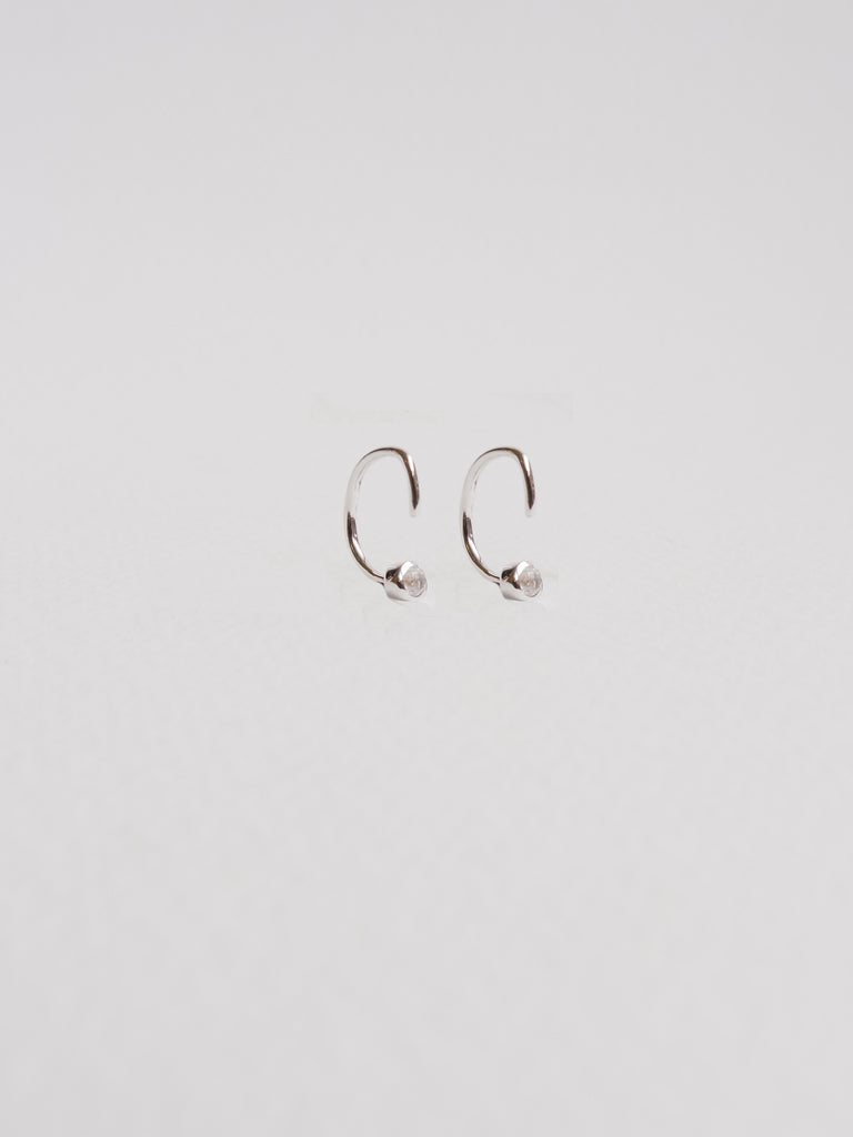 Faye - Inverted Ear Huggers with White Topaz in Silver