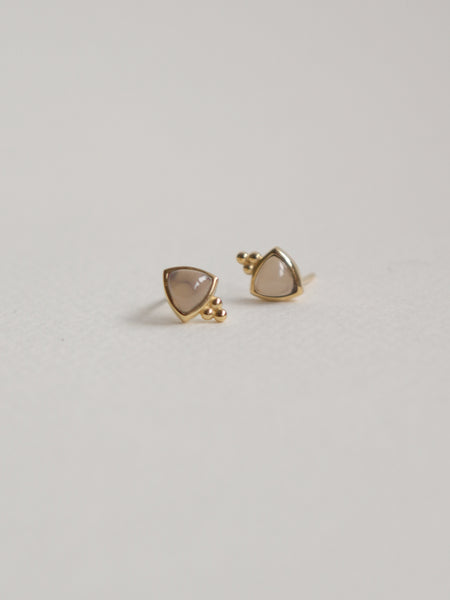 Freya Earstuds - Grey Chalcedony in Gold