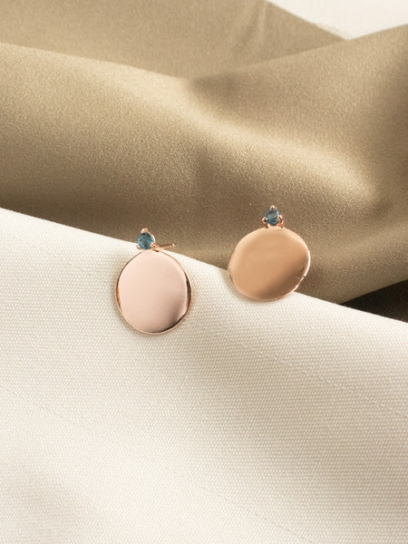 Gabi Earstuds - Round Disc with London Blue Topaz in Rose Gold