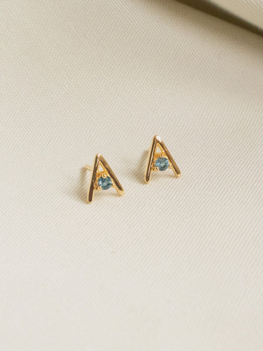 Gia Ear Studs - London Blue Topaz (Gold)