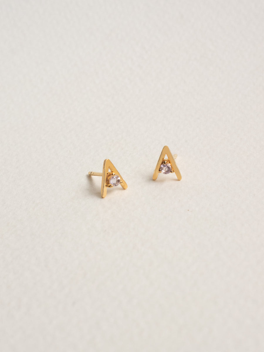 Gia Ear Studs - Pink Amethyst (Gold)