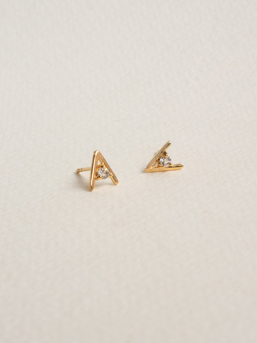 Gia Earstuds - White Topaz in Gold