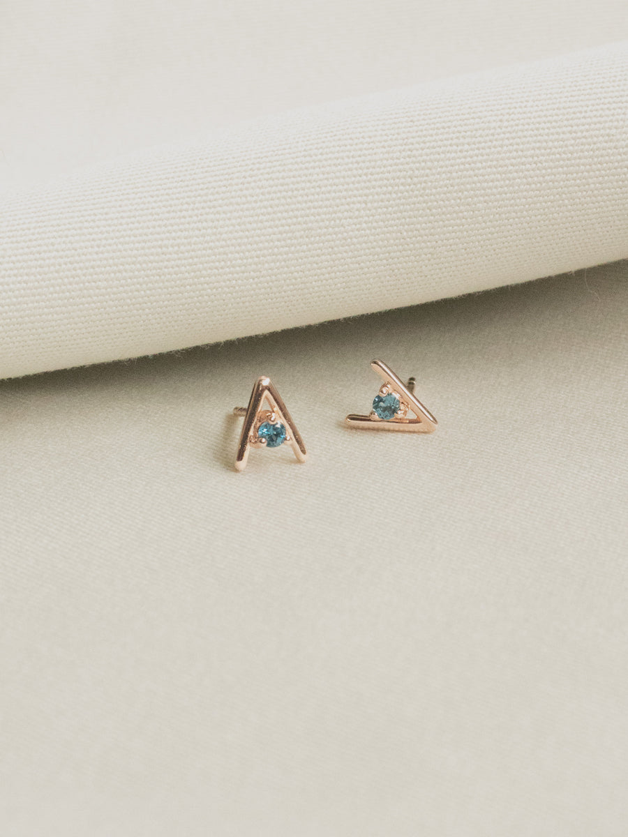 Gia Ear Studs - London Blue Topaz (Rose Gold)