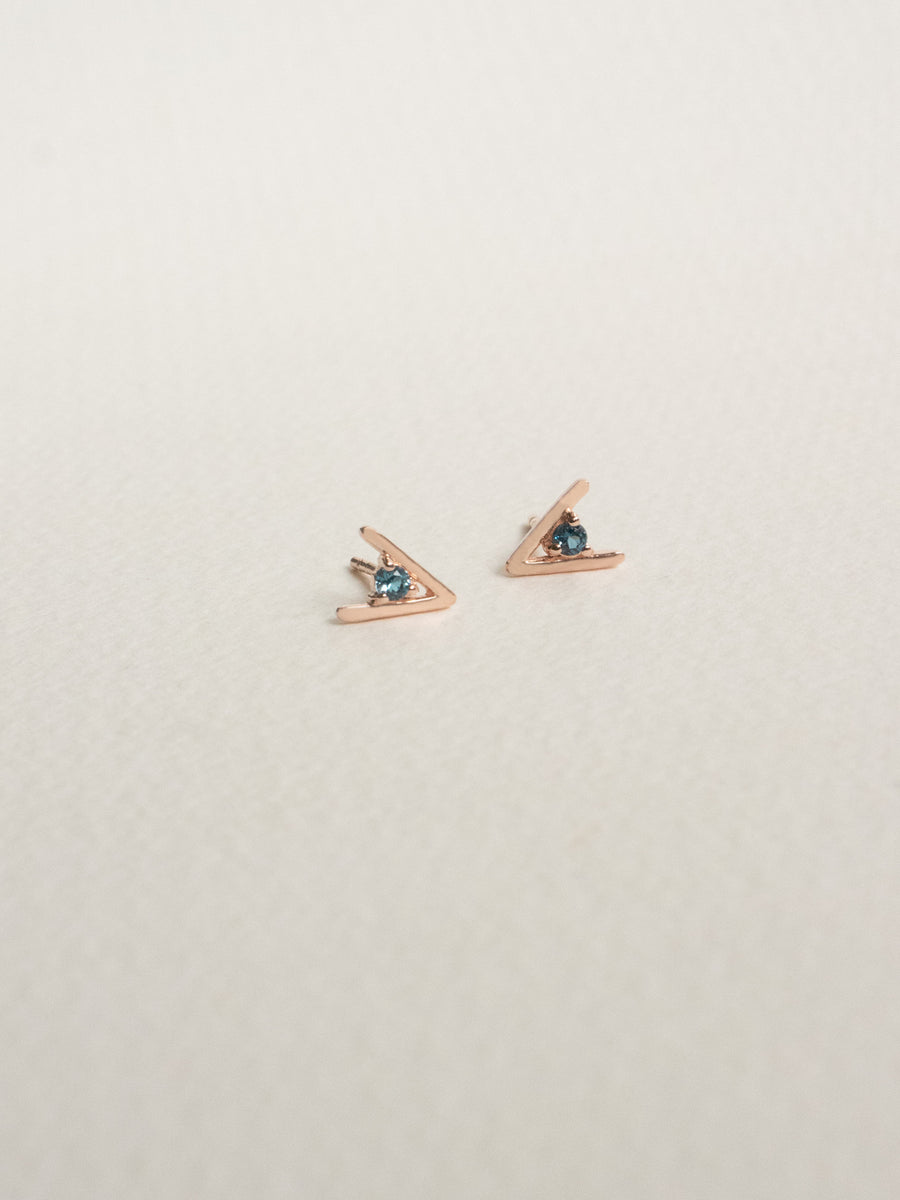 Gia Earstuds - London Blue Topaz in Rose Gold