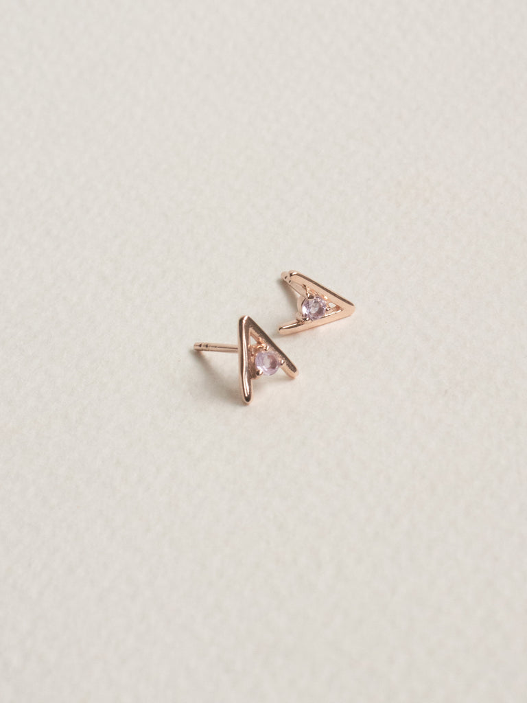 Gia Earstuds - Pink Amethyst in Rose Gold