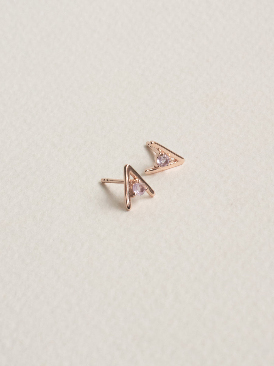 Gia Ear Studs - Pink Amethyst (Rose Gold)