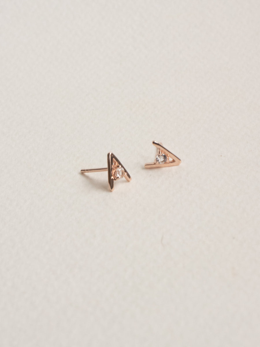 Gia Ear Studs - White Topaz (Rose Gold)