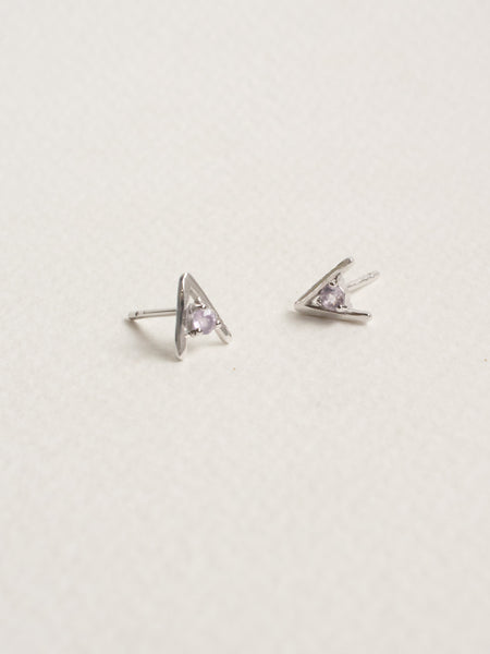 Gia Earstuds - Pink Amethyst in Silver