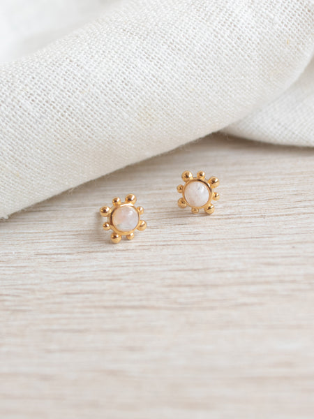 Hannah Ear Stud - Moonstone in Gold