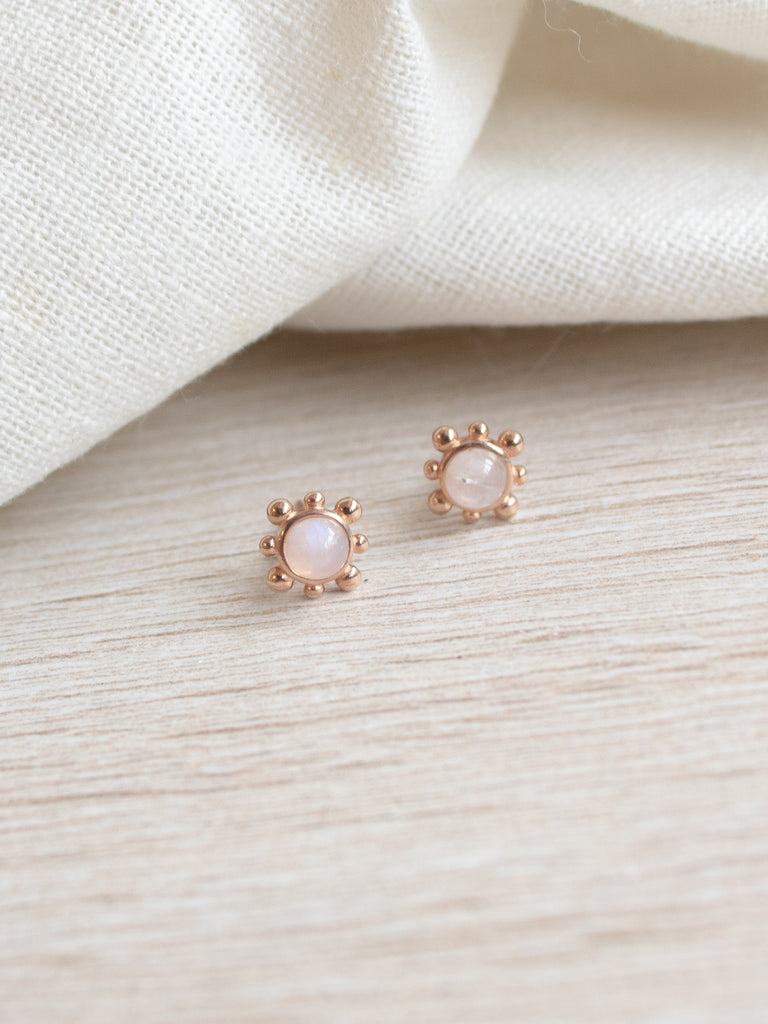 Hannah Ear Stud - Moonstone in Rose Gold