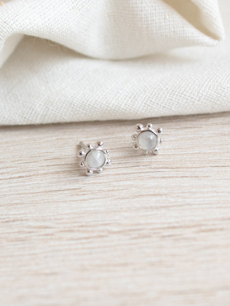 Hannah Ear Stud - Moonstone in Silver