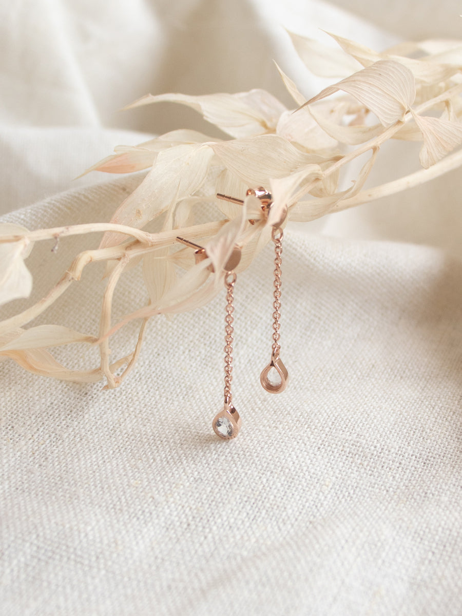 Hayly Drop Earrings - White Topaz (Rose Gold)