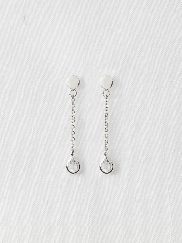 Hayly Earrings - White Topaz Drop in Silver