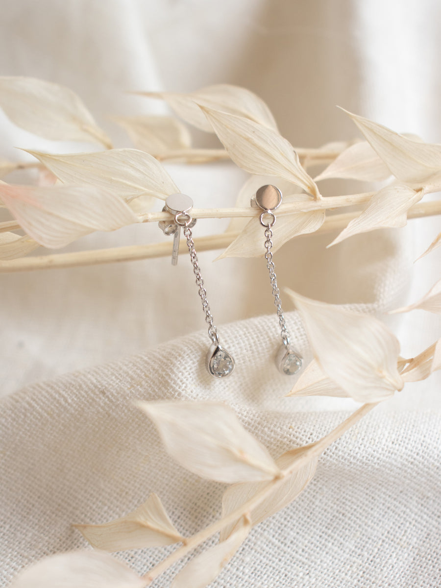 Hayly Drop Earrings - White Topaz (Silver)