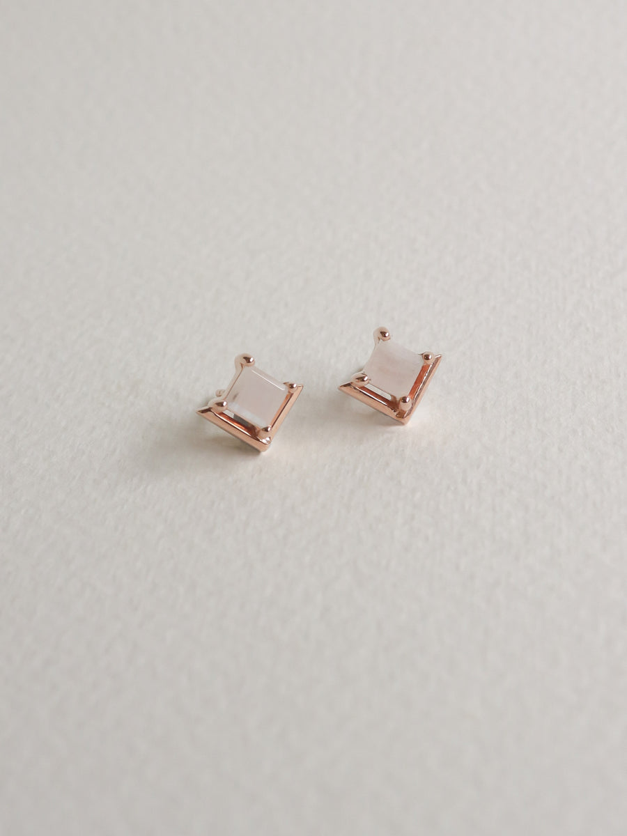 Jeri 2Way Earrings - Moonstone (Rose Gold)