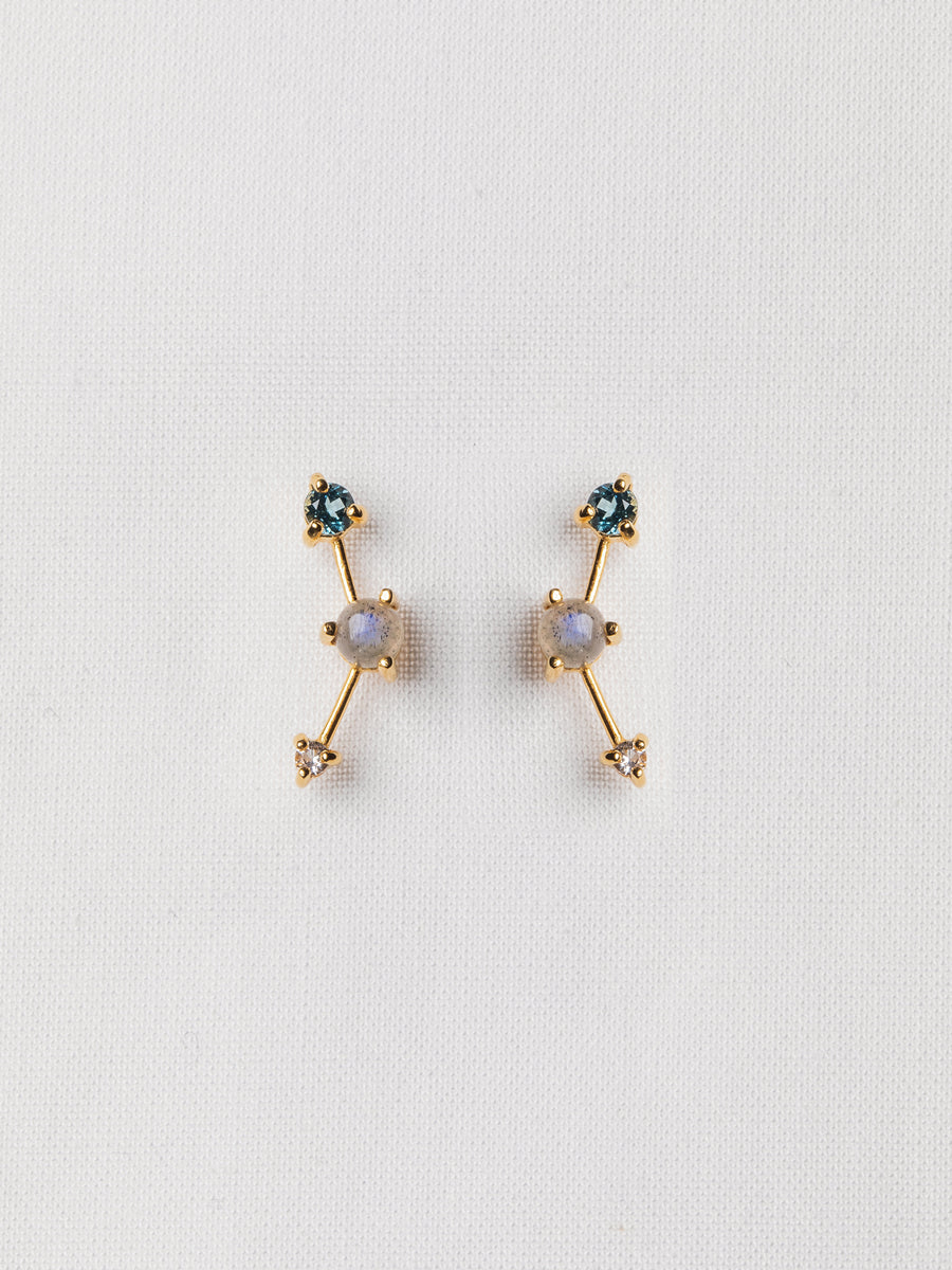 Joelle Ear Studs - Labradorite, London Blue Topaz and White Topaz on Gold