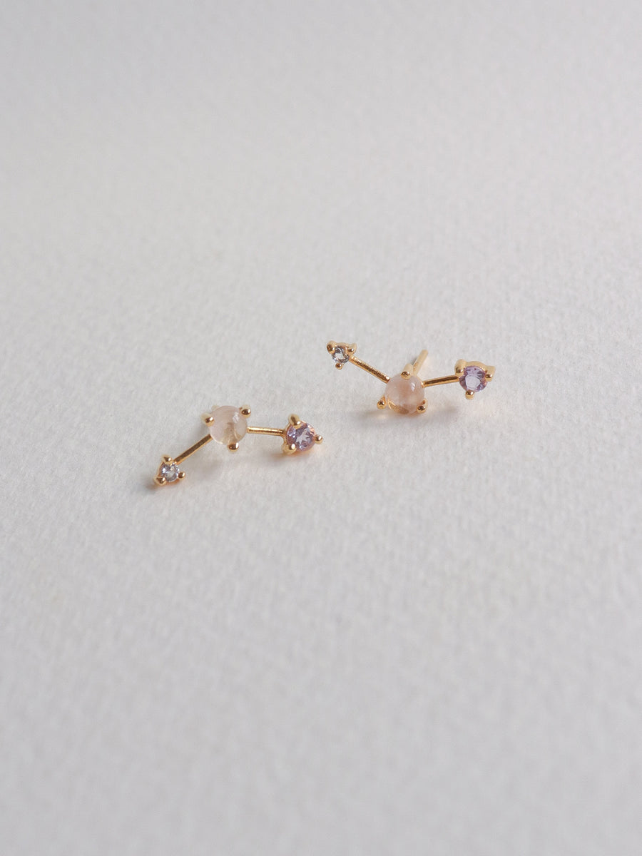 Joelle Ear Studs - Rose Quartz, Pink Amethyst and White Topaz on Gold