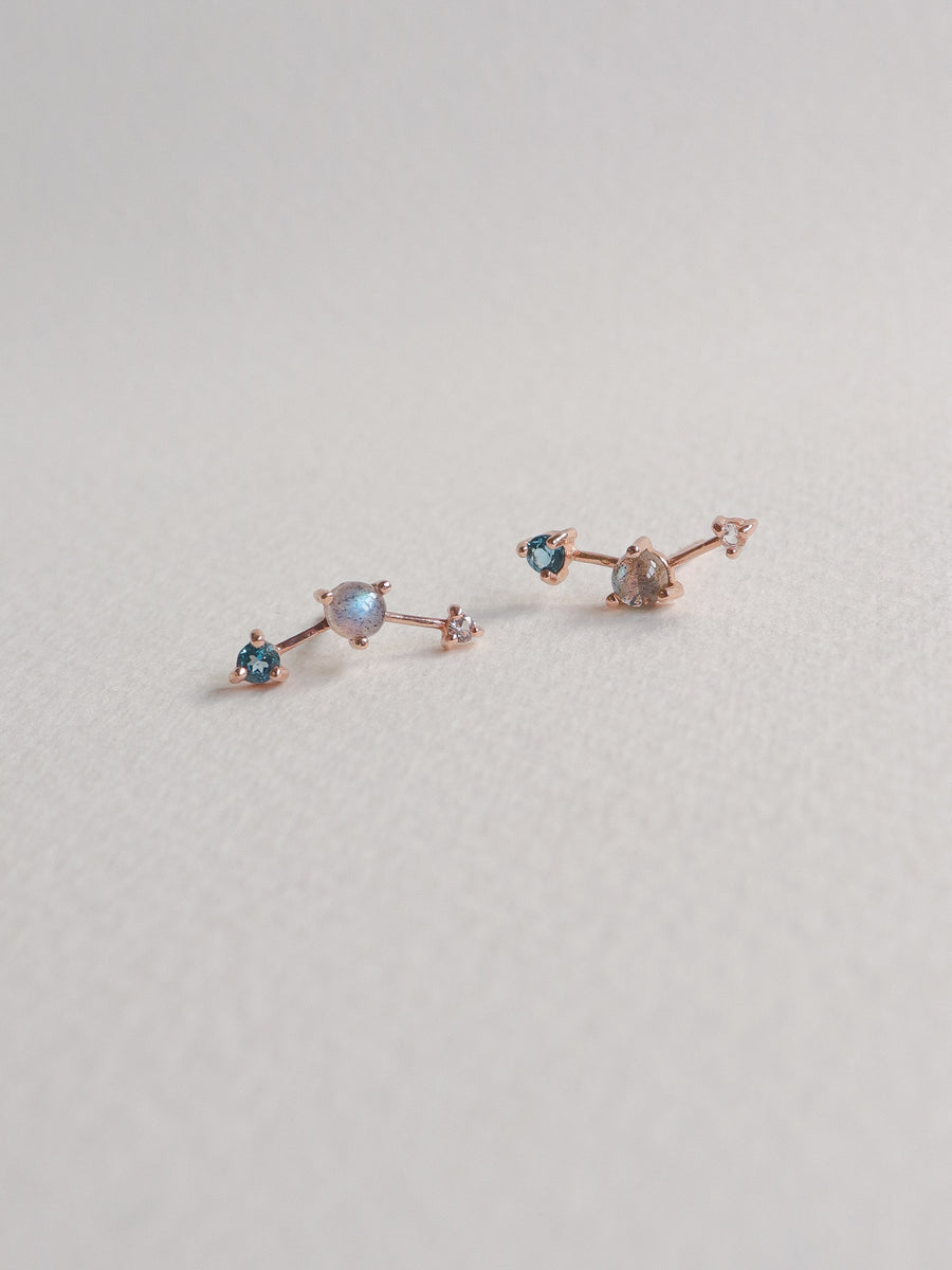 Joelle Ear Studs - Labradorite, London Blue Topaz and White Topaz on Rose Gold