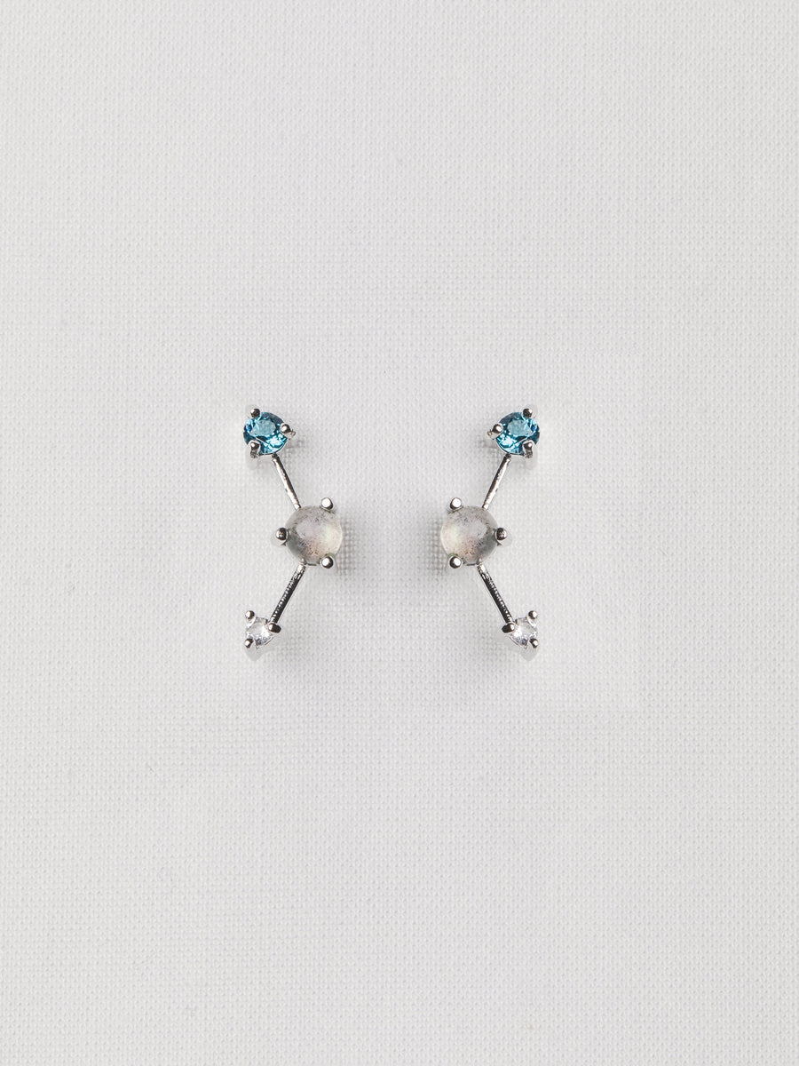 Joelle Ear Studs - Labradorite, London Blue Topaz and White Topaz on Silver