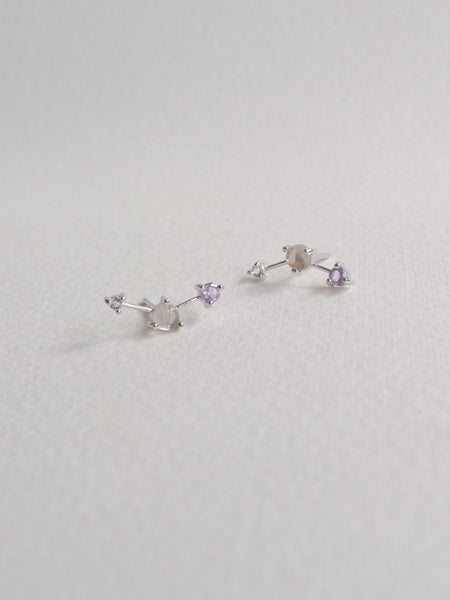 Joelle Ear Studs - Rose Quartz, Pink Amethyst and White Topaz on Silver