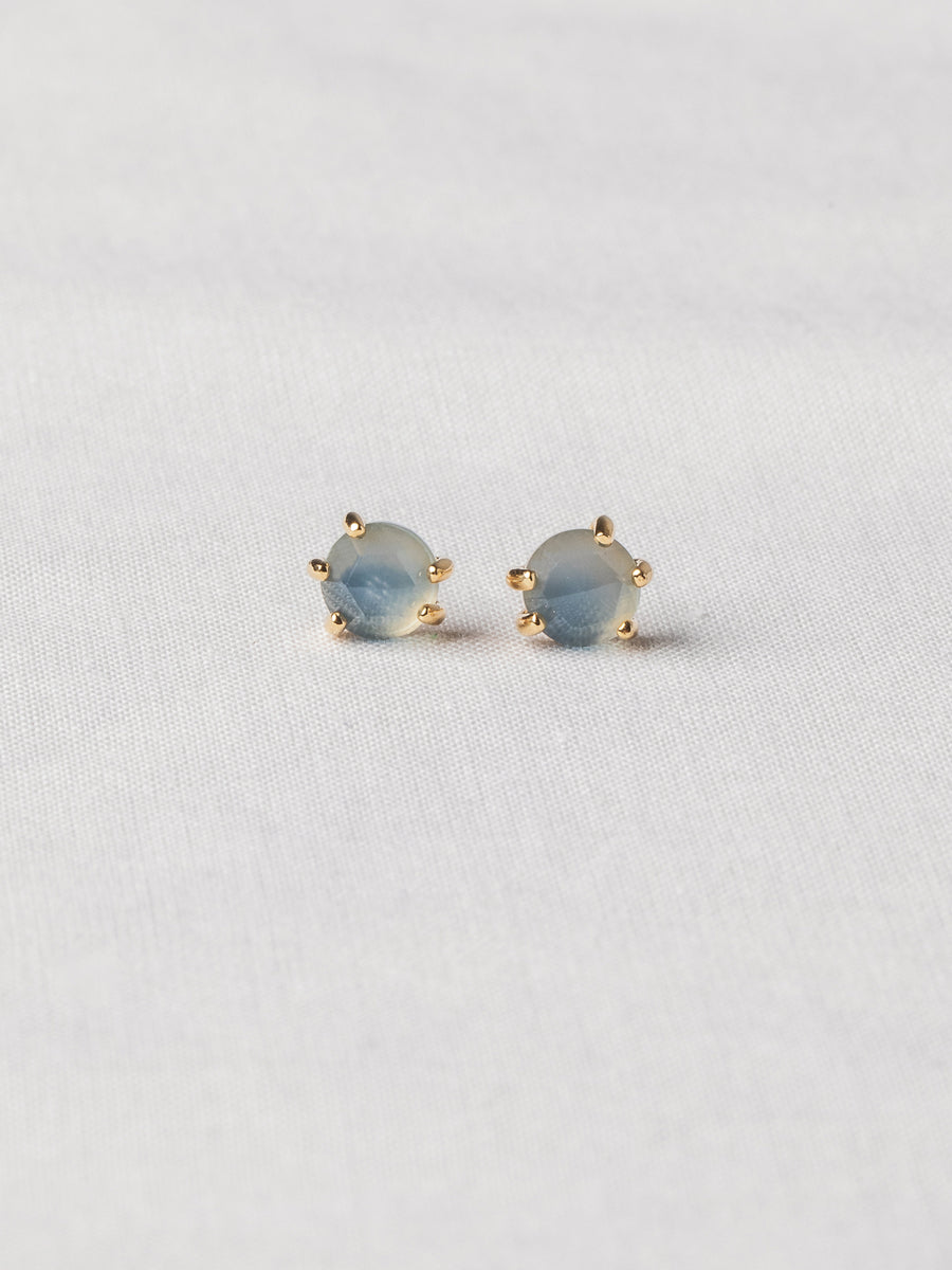 Josie Ear Studs - Rose Cut Blue Chalcedony on Gold