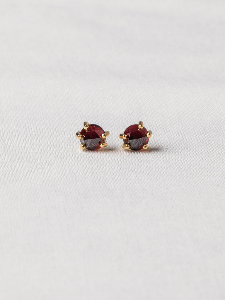 Josie Ear Studs - Rose Cut Garnets on Gold