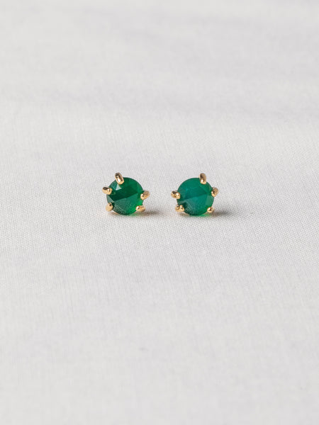 Josie Ear Studs - Rose Cut Green Onyx on Gold