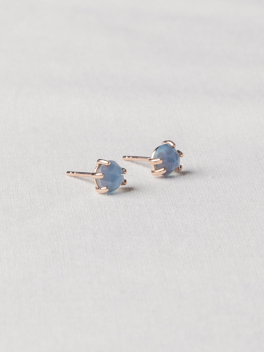 Josie Ear Studs - Rose Cut Blue Chalcedony on Rose Gold