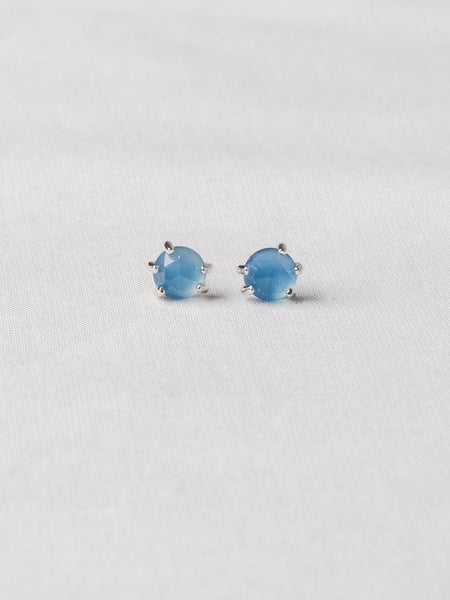 Josie Ear Studs - Rose Cut Blue Chalcedony on Silver