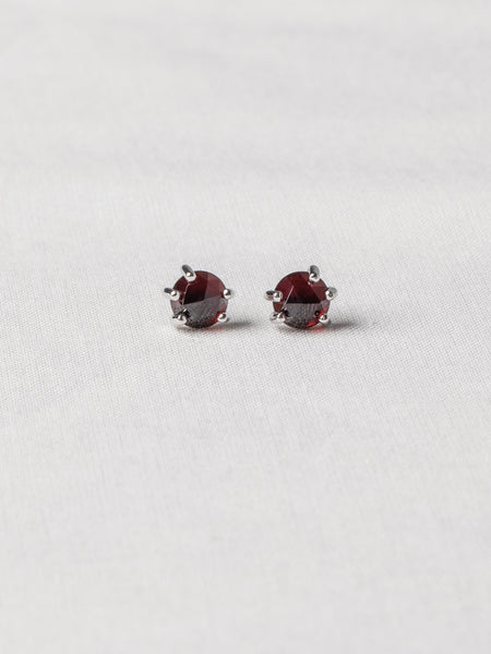 Josie Ear Studs - Rose Cut Garnets on Silver