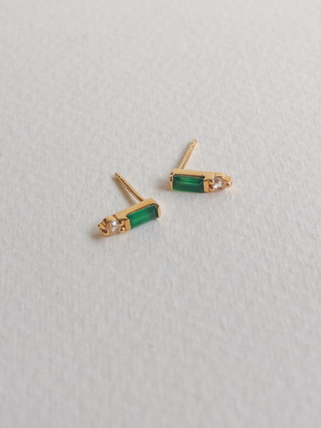 Juliette Ear Studs - Green Onyx in Gold