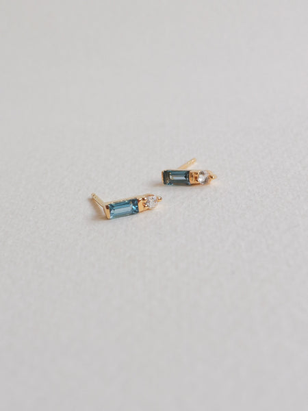 Juliette Ear Studs - London Blue Topaz in Gold
