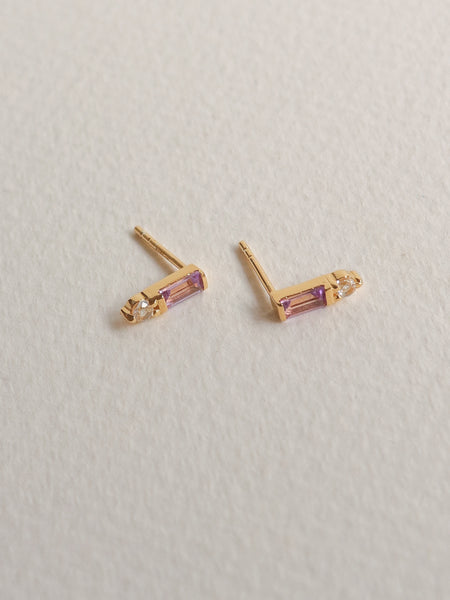 Juliette Ear Studs - Pink Amethyst in Gold