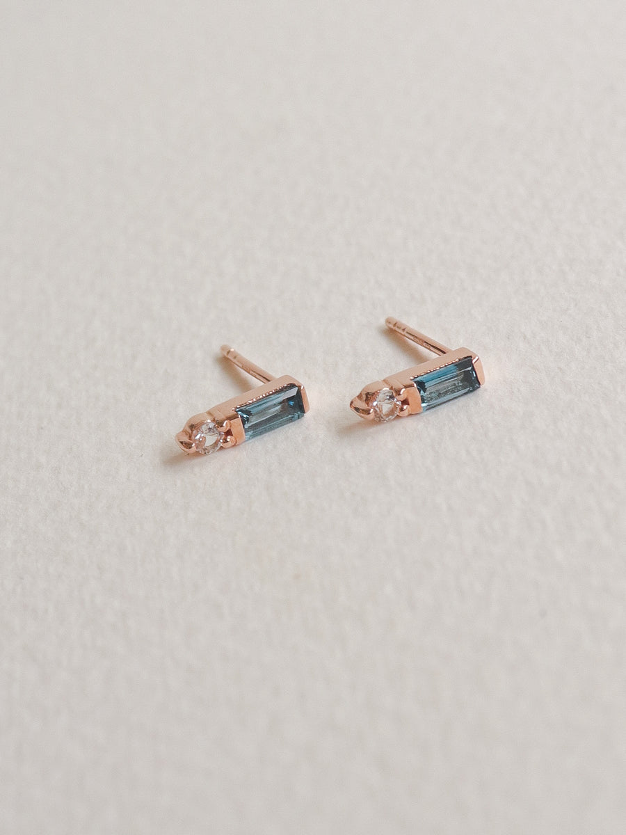 Juliette Ear Studs - London Blue Topaz (Rose Gold)