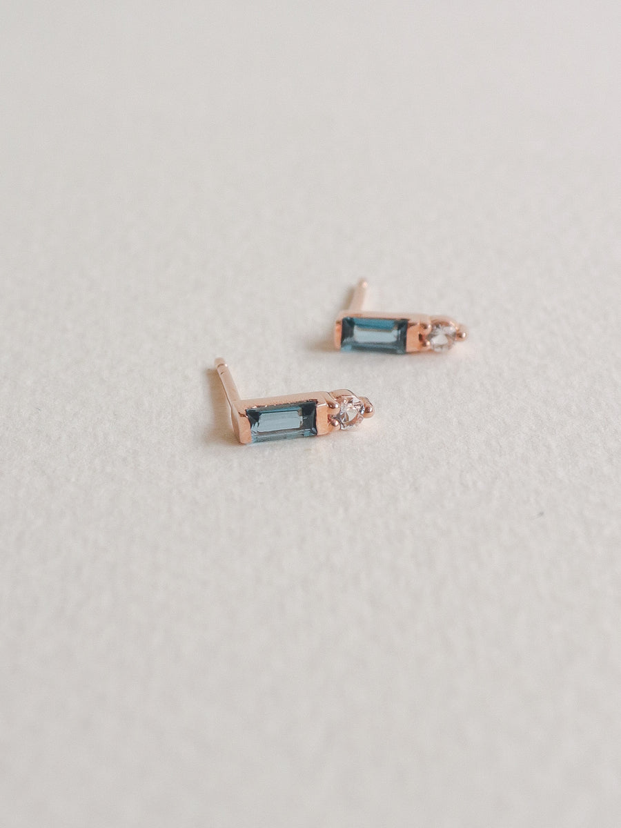 Juliette Ear Studs - London Blue Topaz in Rose Gold