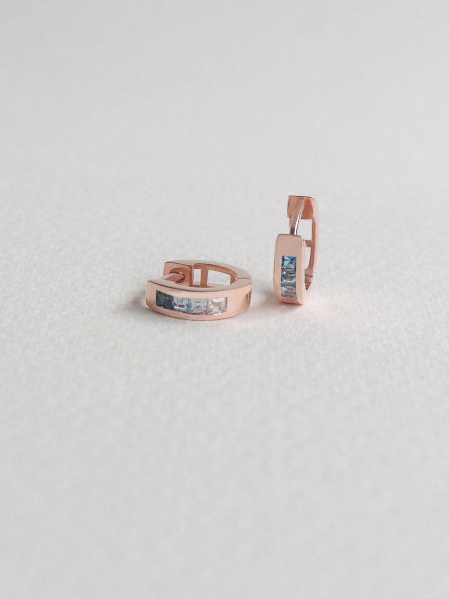 Karla Ear Huggers - Ombre Blue Topaz (Rose Gold)