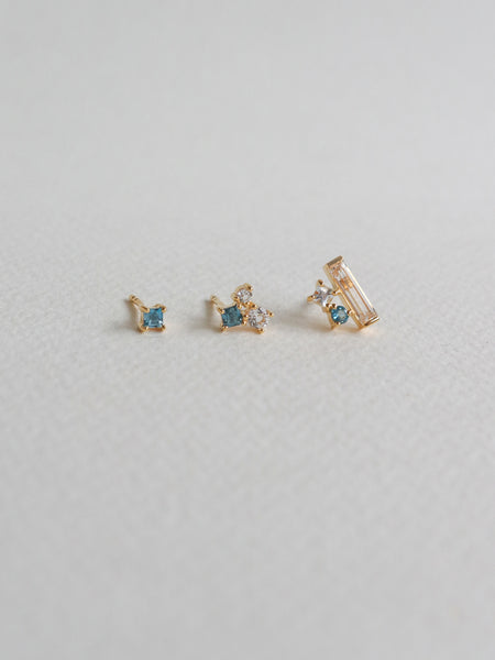 Keira Ear Stud Stacking Set - London Blue Topaz (Gold)