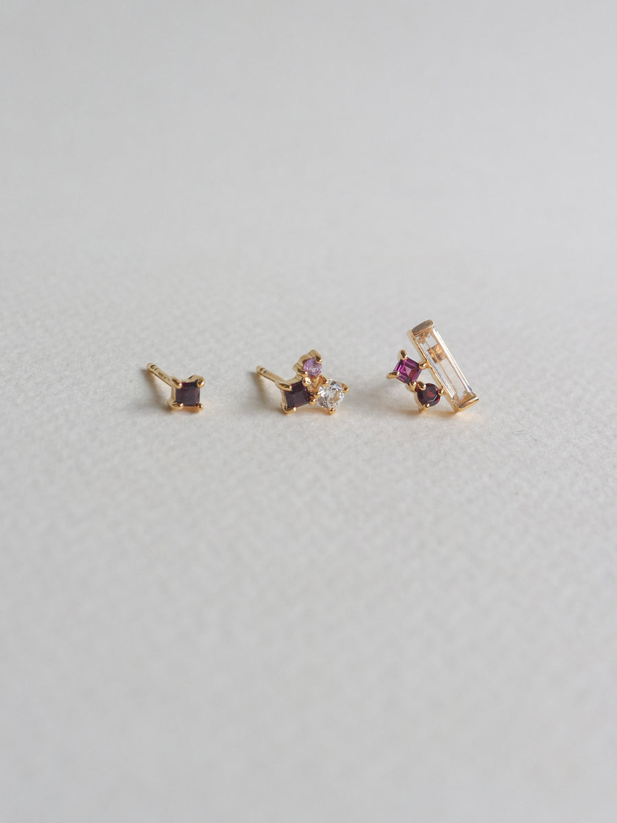 Keira Ear Stud Stacking Set - Rhodolite (Gold)